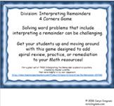Division- Interpret Remainders 4 Corners Game