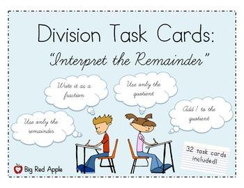 Division: Interpret the Remainder Task Cards