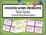 Division Interpreting Remainders Word Problems Task Cards