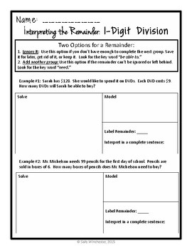 Division: Interpreting the Remainder, One-Digit Divisors, Complete Lesson Packet
