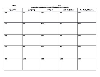 Division Jeopardy Response Sheet