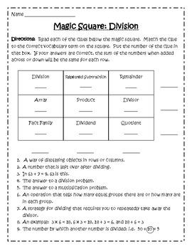 Division Key Terms Magic Square Review