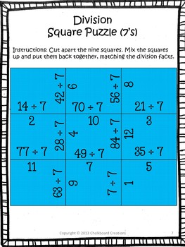 Division Madness: Square Puzzles for Basic Fact Practice