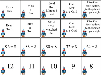 Division Match Up Memory Game 6,7,8