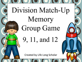 Division Match Up Memory Game 9,11,12