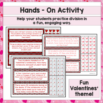 Division Math Center Hands On with Manipulatives - Valentine's Day Theme