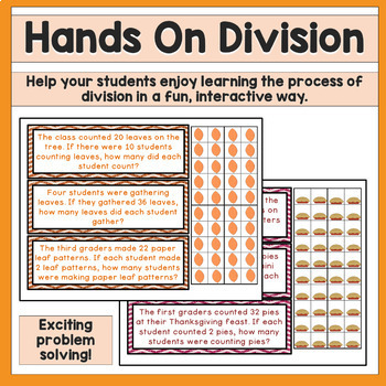 Division Strategies / Division Word Problems Math Center - Thanksgiving
