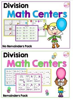 Division Math Centers- No Remainders and Remainders Packs -BUNDLE