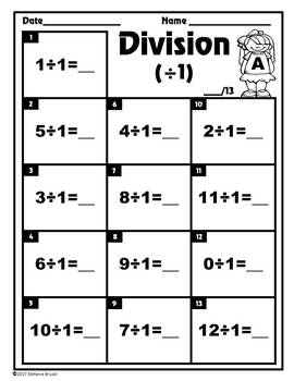 Division Math Fact Practice 0-12