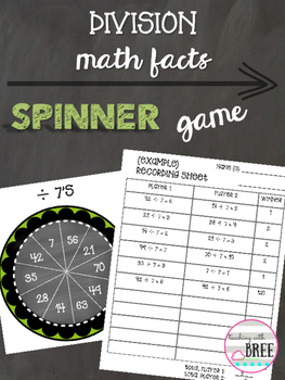 Division Math Facts Spinner Game