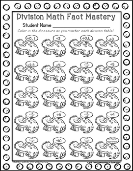 Division Math Facts Student Record Charts