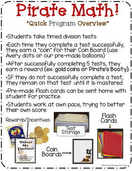 """Division Math Facts Timed Tests- """"Pirate Math"""""""