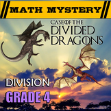 4th Grade Division Review with Remainders Math Mystery - D