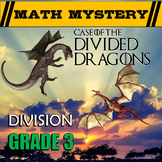 3rd Grade Division Review - Division word problems and Facts 1-12 (Math Mystery)