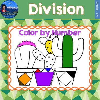 Division Math Practice Cactus Color by Number