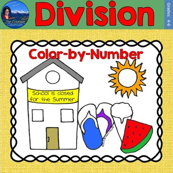 Division Math Practice End of Year Color by Number