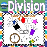 Division Math Practice   New Years Color by Number