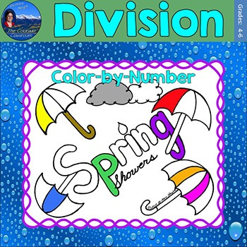 Division Math Practice Spring Showers Color by Number