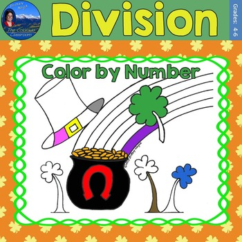 Division Math Practice St. Patrick's Day Color by Number