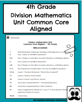 Division Mathematics Unit Common Core Aligned
