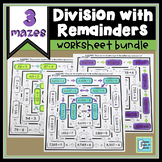 Division Maze With Remainders BUNDLE