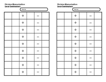 Division Memorization Booklet