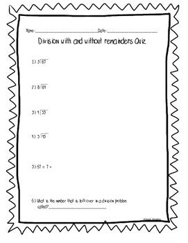 Division Mini Quiz