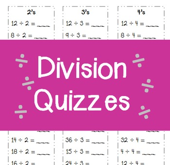 Division Minute Quizzes