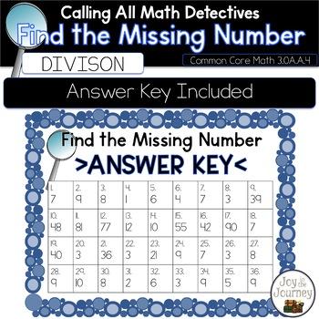 Division Missing Number Task Cards