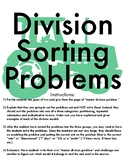 Division Models: 10 different problems to discuss, sort and solve