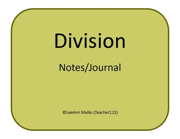 Division Notes/Journal