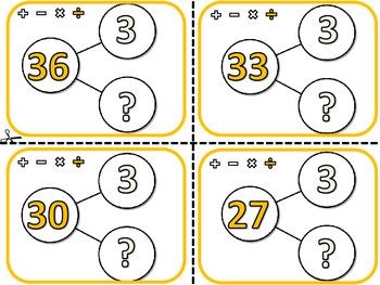 Division Number Bond Flash Cards