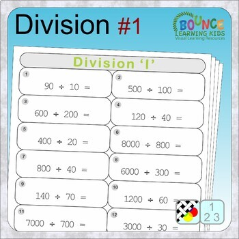 Division (17 distance learning worksheets for Numeracy)