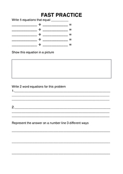 Division Open Ended Question Task Sheet