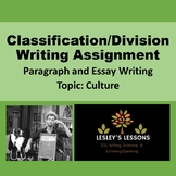 Classification/Division Paragraph Writing Assignment: Culture