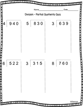 Division Partial Quotients Quiz