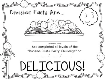 FREEBIE: Division Pasta Party - {Practice for Division Facts Fluency}