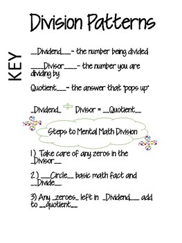Division Pattern Journal Notes