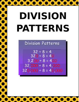 Math: Division Patterns - 3 pages of 5 different patterns
