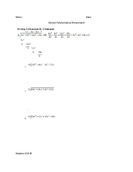 Division Polynomials by Monomials and Polynomials by Binomials