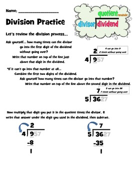 Division Practice Packet