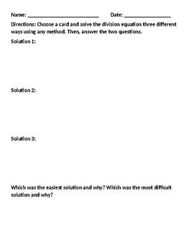Division Practice--Solve Three Ways