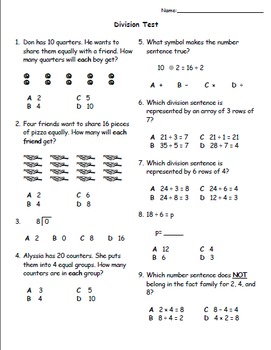 Division Practice Worksheets and Assessments