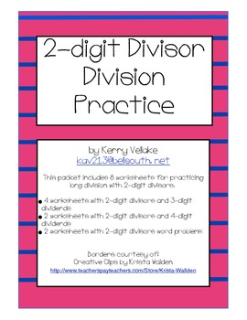 long division practice pack by kerry vellake teachers pay teachers. Black Bedroom Furniture Sets. Home Design Ideas