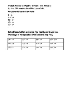 Division Pre/Post Test Grade 3/4 - Editable!