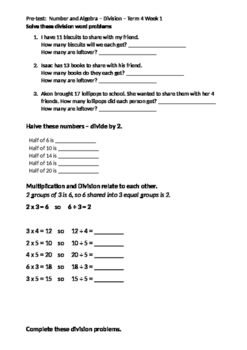 Division Pre/Post Test Grade 3/4 - Editable!