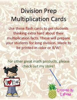 Division Prep Multiplication Cards
