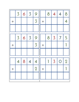 Division Problem Set - 72 Division Problems With & Without Remainders