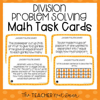 Division Problem Solving Task Cards (Word Problems) for 3rd Grade