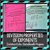 Division Properties of Exponents Foldable Pages
